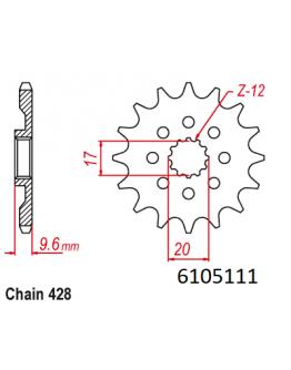 Vývodové sekundárne koliečko MM KTM SX85 18-20,Husqvarna TC85 18-20